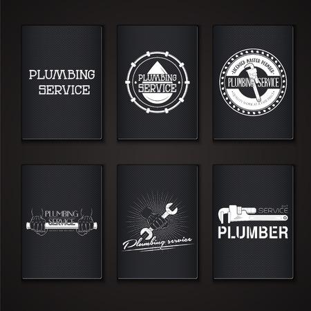 Sanitair dienst. Thuis reparaties. Reparatie en onderhoud van gebouwen. Grunge Effect. Set van Typografische badges. Flat vector illustratie