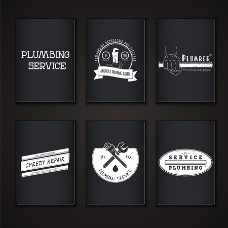 Plumbing service. Home repairs. Repair and maintenance of buildings. Grunge Effect. Set of Typographic Badges. Flat vector illustration Vector