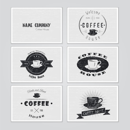 stamp seal: Coffee house. The food and service. Set of Typographic labels. Flat illustration