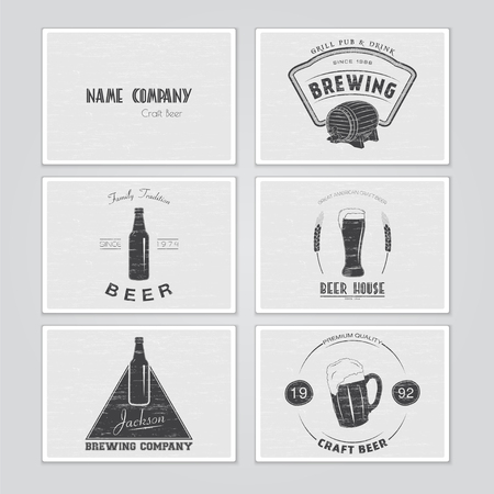 brewer: Beer and brewing set. Brewing typographic labels