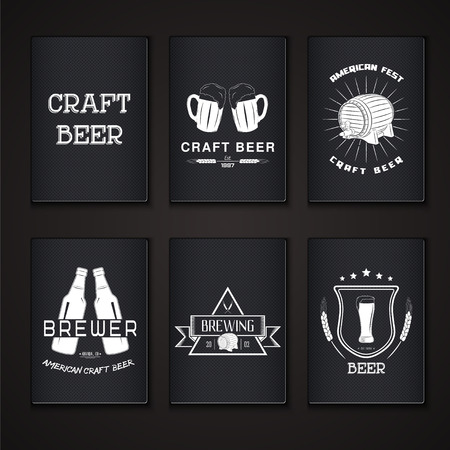 brewing house: Beer pub set. Brewing typographic labels