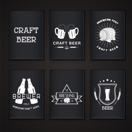 Beer pub set. Brewing typographic labels