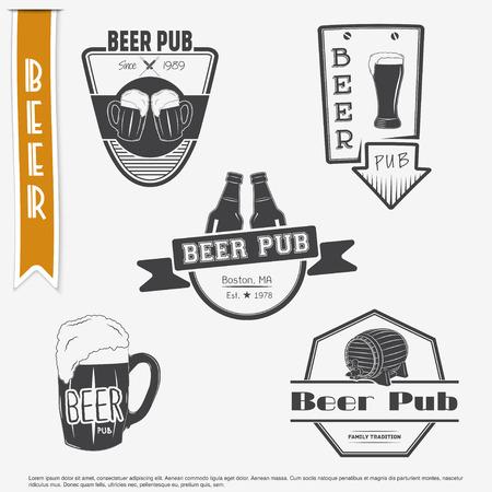 brewing: Beer pub set. Brewing typographic labels