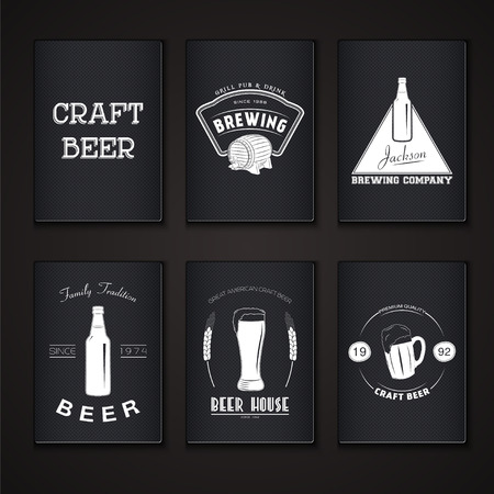 banner craft: Beer pub set. Brewing typographic labels