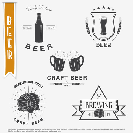 brewing: Beer and brewing set. Brewing typographic labels, logos and badges. Flat vector illustration