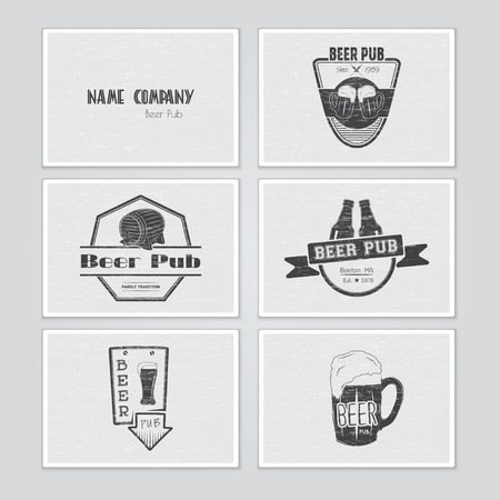 brew house: Beer pub set. Brewing typographic labels, logos and badges. Flat vector illustration Illustration