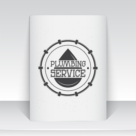 home repairs: Plumbing service. Home repairs. Repair and maintenance of buildings. Sheet of white paper. Monochrome typographic labels, stickers, logos and badges. Flat vector illustration