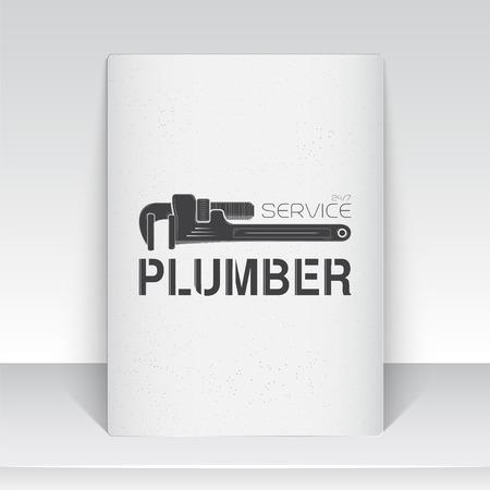 fontaneria: Plomería. Reparaciones del hogar. Reparación y mantenimiento de edificios. Hoja de papel blanco. Monocromo etiquetas tipográficos, pegatinas, insignias y distintivos. Ilustración vectorial Flat