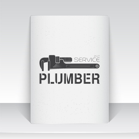 servicing: Plumbing service. Home repairs. Repair and maintenance of buildings. Sheet of white paper. Monochrome typographic labels, stickers, logos and badges. Flat vector illustration