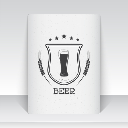 brewing: Beer pub. Brewing old school of vintage label. Sheet of white paper. Monochrome typographic labels, stickers, logos and badges. Flat vector illustration