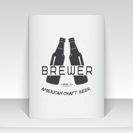 brewing house: Beer pub. Brewing old school of vintage label. Sheet of white paper. Monochrome typographic labels, stickers, logos and badges. Flat vector illustration