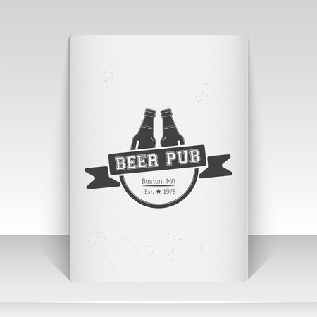 brewer: Beer pub. Brewing old school of vintage label. Sheet of white paper. Monochrome typographic labels, stickers, logos and badges. Flat vector illustration