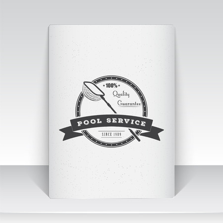 adjustment: Pool Service. Maintenance and Cleaning. Repair and adjustment of the house. Old school of vintage label. Sheet of white paper. Monochrome typographic labels, stickers, logos and badges. Flat vector illustration