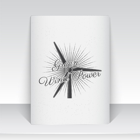 power generator: Windmills for energy. Sustainable ecological electrical power generator powered by wind natural energy source. Old school of vintage label. Sheet of white paper. Monochrome typographic labels, stickers, logos and badges. Flat vector illustration
