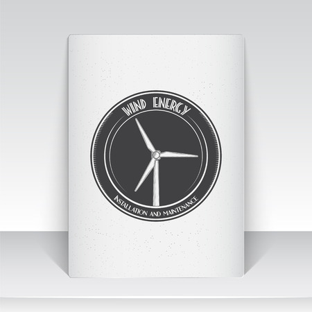 powered: Windmills for energy. Sustainable ecological electrical power generator powered by wind natural energy source. Old school of vintage label. Sheet of white paper. Monochrome typographic labels, stickers, logos and badges. Flat vector illustration