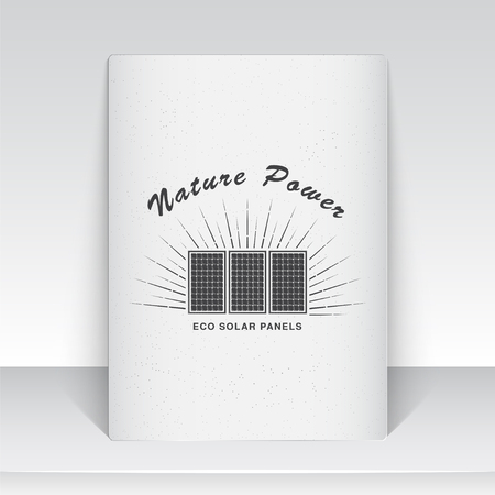 solar collector: Solar panels for energy. Sustainable ecological solar energy generator powered by natural energy source. Old school of vintage label. Sheet of white paper. Monochrome typographic labels, stickers, logos and badges. Flat vector illustration