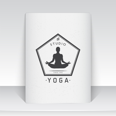 meditation man: Yoga studio, fitness and meditation class. Health and beauty. Sports and self-development. Old school of vintage label. Sheet of white paper. Monochrome typographic labels, stickers, logos and badges. Flat vector illustration