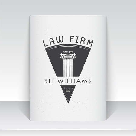 attorney: Lawyer services. Law office. The judge, the district attorney, the lawyer of vintage labels. Scales of Justice. Court of law symbol.  Sheet of white paper. Typographic labels, stickers, logos and badges. Flat vector illustration Illustration