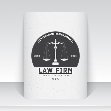law office: Lawyer services. Law office. The judge, the district attorney, the lawyer of vintage labels. Scales of Justice. Court of law symbol.  Sheet of white paper. Typographic labels, stickers, logos and badges. Flat vector illustration Illustration