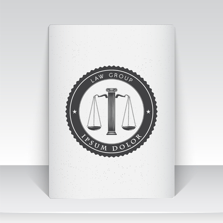 DERECHO: Servicios de abogado. Oficina de Leyes. El juez, el fiscal, el abogado de etiquetas de la vendimia. Escalas de la justicia. Tribunal de símbolo de la ley. Hoja de papel blanco. Tipográfico etiquetas, pegatinas, insignias y distintivos. Ilustración vectorial Flat Vectores