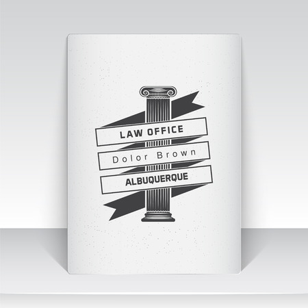 Lawyer services. Law office. The judge, the district attorney, the lawyer of vintage labels. Scales of Justice. Court of law symbol.  Sheet of white paper. Typographic labels, stickers, logos and badges. Flat vector illustration Ilustrace