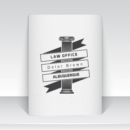 à   law: Servicios de abogado. Oficina de Leyes. El juez, el fiscal, el abogado de etiquetas de la vendimia. Escalas de la justicia. Tribunal de símbolo de la ley. Hoja de papel blanco. Tipográfico etiquetas, pegatinas, insignias y distintivos. Ilustración vectorial Flat Vectores