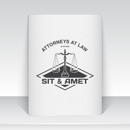Lawyer services. Law office. The judge, the district attorney, the lawyer of vintage labels. Scales of Justice. Court of law symbol.  Sheet of white paper. Typographic labels, stickers, logos and badges. Flat vector illustration Illustration