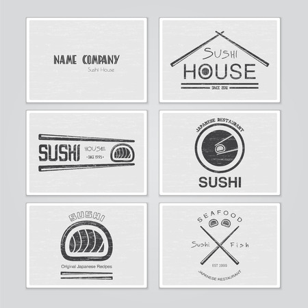 sushi: Sushi and rolls a set. Japanese kitchen. Typographic labels, logos and badges. Flat vector illustration