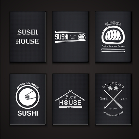 #47499489   Sushi And Rolls A Set. Japanese Kitchen. Typographic Labels,  Logos And Badges. Flat Vector Illustration