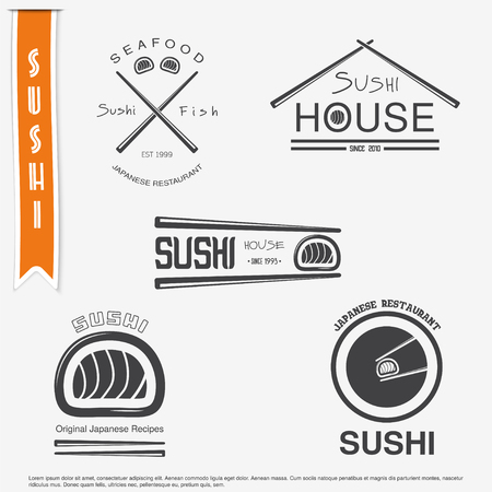 restaurant sign: Sushi and rolls a set. Japanese kitchen. Typographic labels, logos and badges. Flat vector illustration