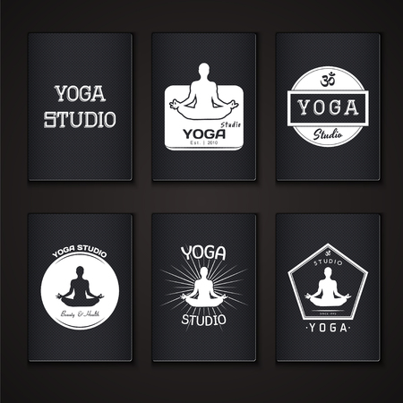 human body silhouette: Yoga studio, fitness and meditation class. Set of typographic labels, stickers, logos and badges. Flat vector illustration Illustration