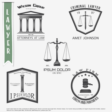 judges: Lawyer services. Law office. The judge, the district attorney, the lawyer set of vintage labels. Scales of Justice. Court of law symbol.  Typographic labels, stickers, logos and badges. Flat vector illustration Illustration