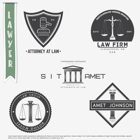 law office: Lawyer services. Law office. The judge, the district attorney, the lawyer set of vintage labels. Scales of Justice. Court of law symbol.  Typographic labels, stickers, logos and badges. Flat vector illustration Illustration