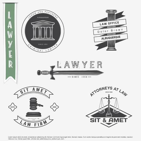 Lawyer services. Law office. The judge, the district attorney, the lawyer set of vintage labels. Scales of Justice. Court of law symbol.  Typographic labels, stickers, logos and badges. Flat vector illustration Иллюстрация