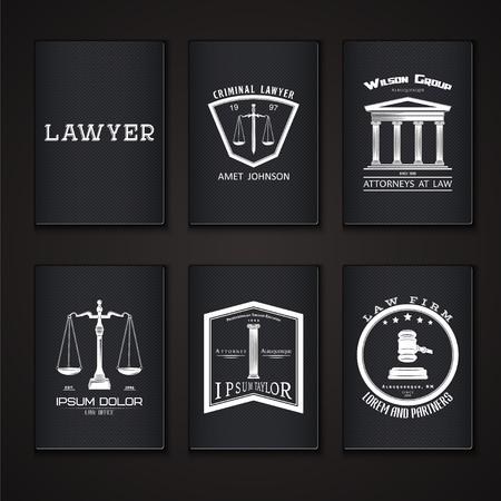 business symbols: Lawyer services. Law office. The judge, the district attorney, the lawyer set of vintage labels. Scales of Justice. Court of law symbol.  Typographic labels, stickers, logos and badges. Flat vector illustration Illustration