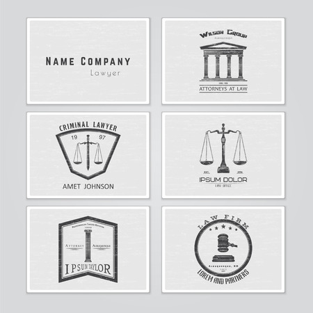 court judge: Lawyer services. Law office. The judge, the district attorney, the lawyer set of vintage labels. Scales of Justice. Court of law symbol.  Typographic labels, stickers, logos and badges. Flat vector illustration Illustration
