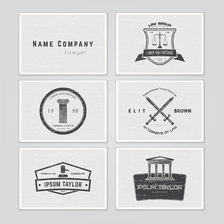 lawyer: Lawyer services. Law office. The judge, the district attorney, the lawyer set of vintage labels. Scales of Justice. Court of law symbol.  Typographic labels, stickers, logos and badges. Flat vector illustration Illustration