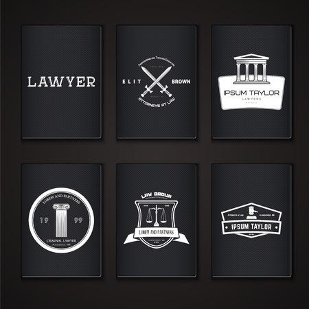 justicia: Servicios de abogado. Oficina de Leyes. El juez, el fiscal, el conjunto abogado de etiquetas de la vendimia. Escalas de la justicia. Tribunal de símbolo de la ley. Tipográfico etiquetas, pegatinas, insignias y distintivos. Ilustración vectorial Flat