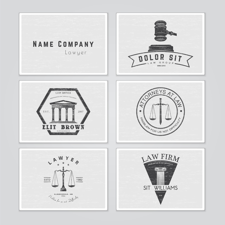 justice legal: Lawyer services. Law office. The judge, the district attorney, the lawyer set of vintage labels. Scales of Justice. Court of law symbol.  Typographic labels, stickers, logos and badges. Flat vector illustration Illustration