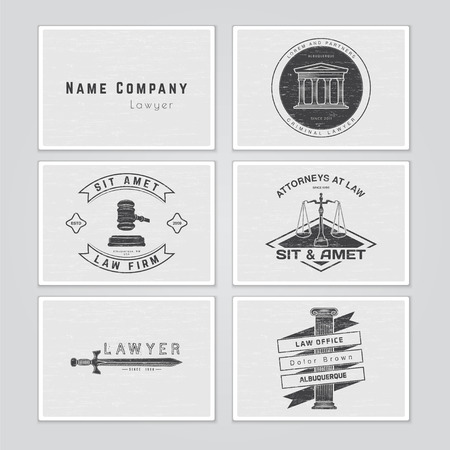 Lawyer services. Law office. The judge, the district attorney, the lawyer set of vintage labels. Scales of Justice. Court of law symbol.  Typographic labels, stickers, logos and badges. Flat vector illustration Ilustrace