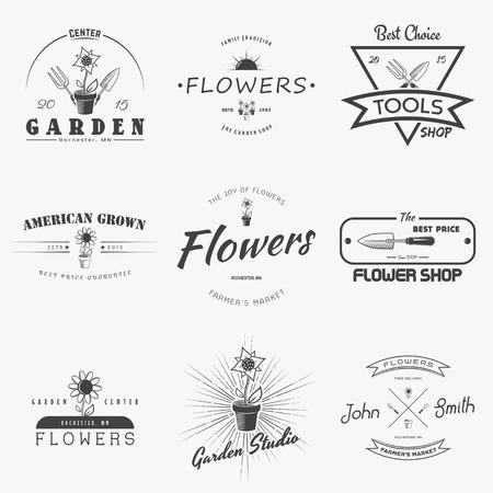 花を育てる農場。園芸ツールのお店です。ガーデン センターは、ヴィンテージのラベルのセット。モノクロ印刷ラベル、ステッカー、ロゴとバッジ
