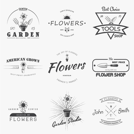 gardening: A farm growing flowers. Gardening Tools Shop. Garden Center set of vintage labels. Monochrome typographic labels, stickers, logos and badges. Flat vector illustration