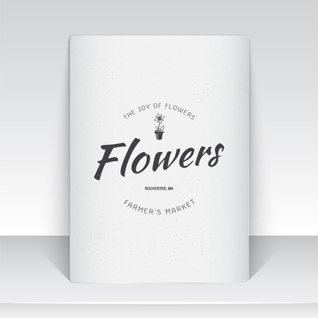 growing flowers: A farm growing flowers. Gardening Tools Shop. Garden Center set of vintage labels. Sheet of white paper. Monochrome typographic labels, stickers, logos and badges. Flat vector illustration