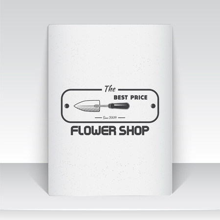 A farm growing flowers. Gardening Tools Shop. Garden Center set of vintage labels. Sheet of white paper. Monochrome typographic labels, stickers, logos and badges. Flat vector illustration
