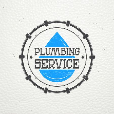 cañerías: Plomería. Reparaciones del hogar. Reparación y mantenimiento de edificios. Monocromo etiquetas tipográficos, pegatinas, insignias y distintivos. Ilustración vectorial Flat Vectores