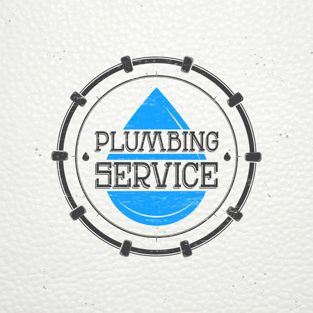 home repairs: Plumbing service. Home repairs. Repair and maintenance of buildings. Monochrome typographic labels, stickers, logos and badges. Flat vector illustration