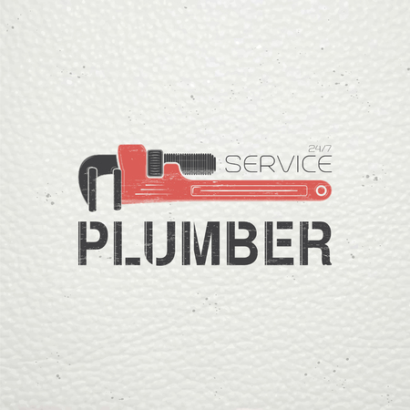 plumbing tools: Plumbing service. Home repairs. Repair and maintenance of buildings. Monochrome typographic labels, stickers, logos and badges. Flat vector illustration