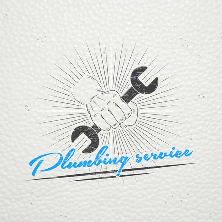 fontaneria: Plomería. Reparaciones del hogar. Reparación y mantenimiento de edificios. Monocromo etiquetas tipográficos, pegatinas, insignias y distintivos. Ilustración vectorial Flat Vectores