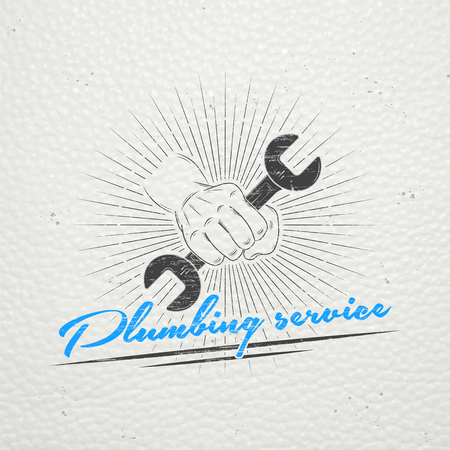 Plumbing service. Home repairs. Repair and maintenance of buildings. Monochrome typographic labels, stickers, logos and badges. Flat vector illustration