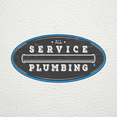 servicing: Plumbing service. Home repairs. Repair and maintenance of buildings. Monochrome typographic labels, stickers, logos and badges. Flat vector illustration